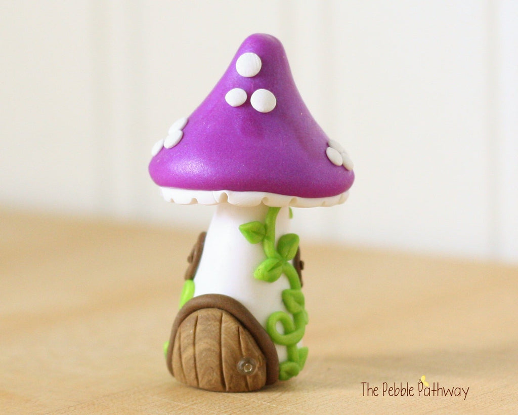 Tiny Mushroom Gnome Home,  Purple Mushroom Fairy House, Terrarium Decoration,  Fairy Garden Accessory 0475 - ThePebblePathway
