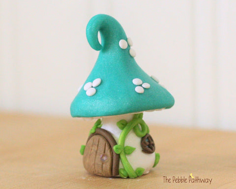Tiny Mushroom Gnome Home,  Teal Mushroom Fairy House, Terrarium Decoration,  Fairy Garden Accessory 0478 - ThePebblePathway
