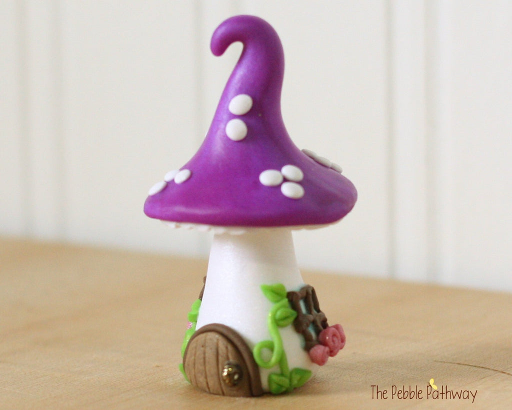 Tiny Mushroom Gnome Home,  Purple Mushroom Fairy House, Terrarium Decoration,  Fairy Garden Accessory 0479
