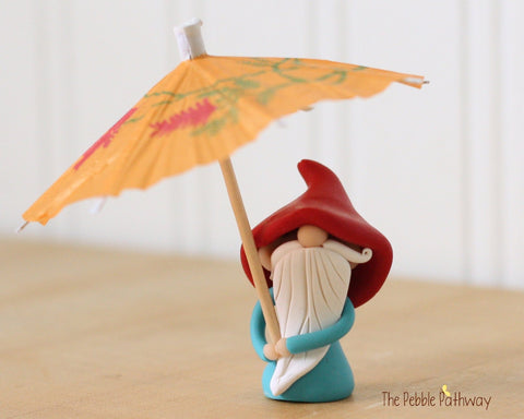 April Gnome of the Month - April Showers Gnome - Gnome with Orange Umbrella - Rainy day gnome 0485 - ThePebblePathway