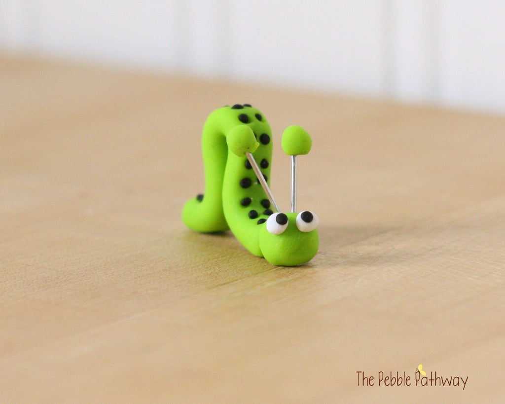 Tiny inch worm  - Woodland Animals - Terrarium Accessory - fairy garden decoration  Cupcake Topper 0486 - ThePebblePathway