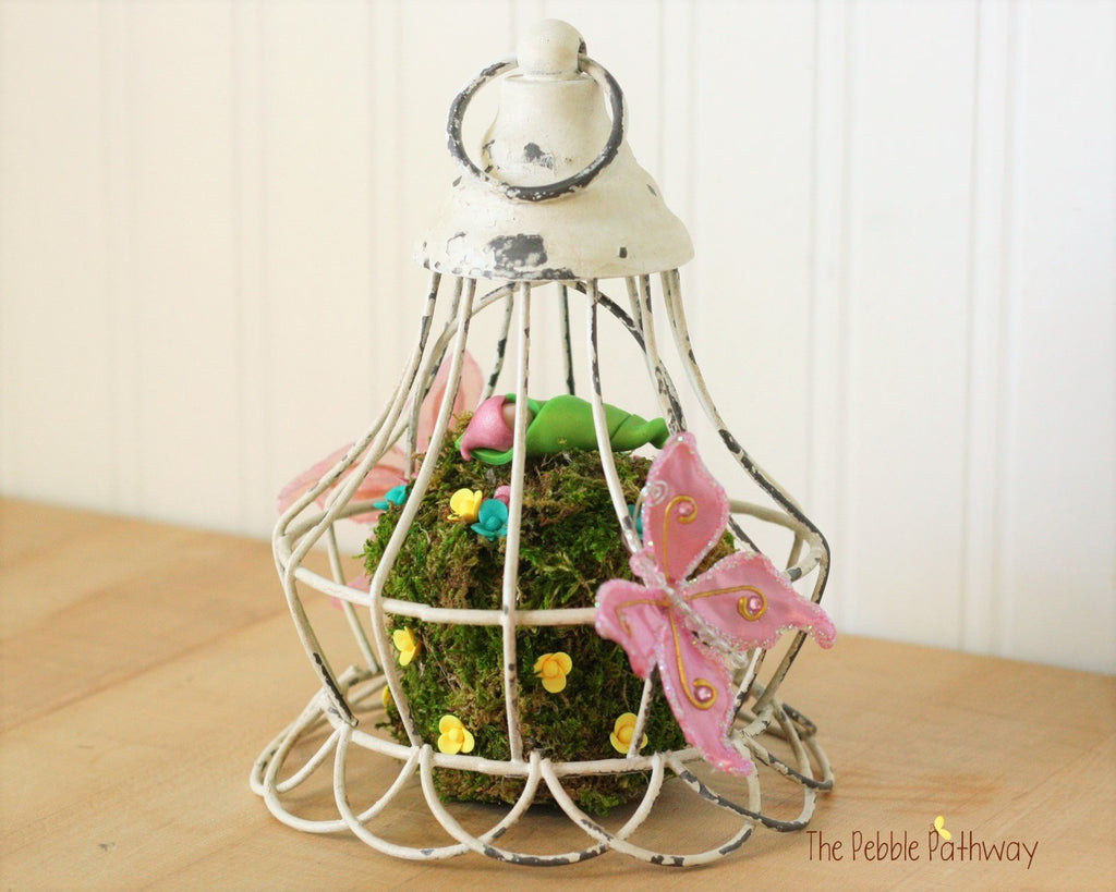 Hanging Fairy Garden with Baby Fairy and Pink Butterflies 0487