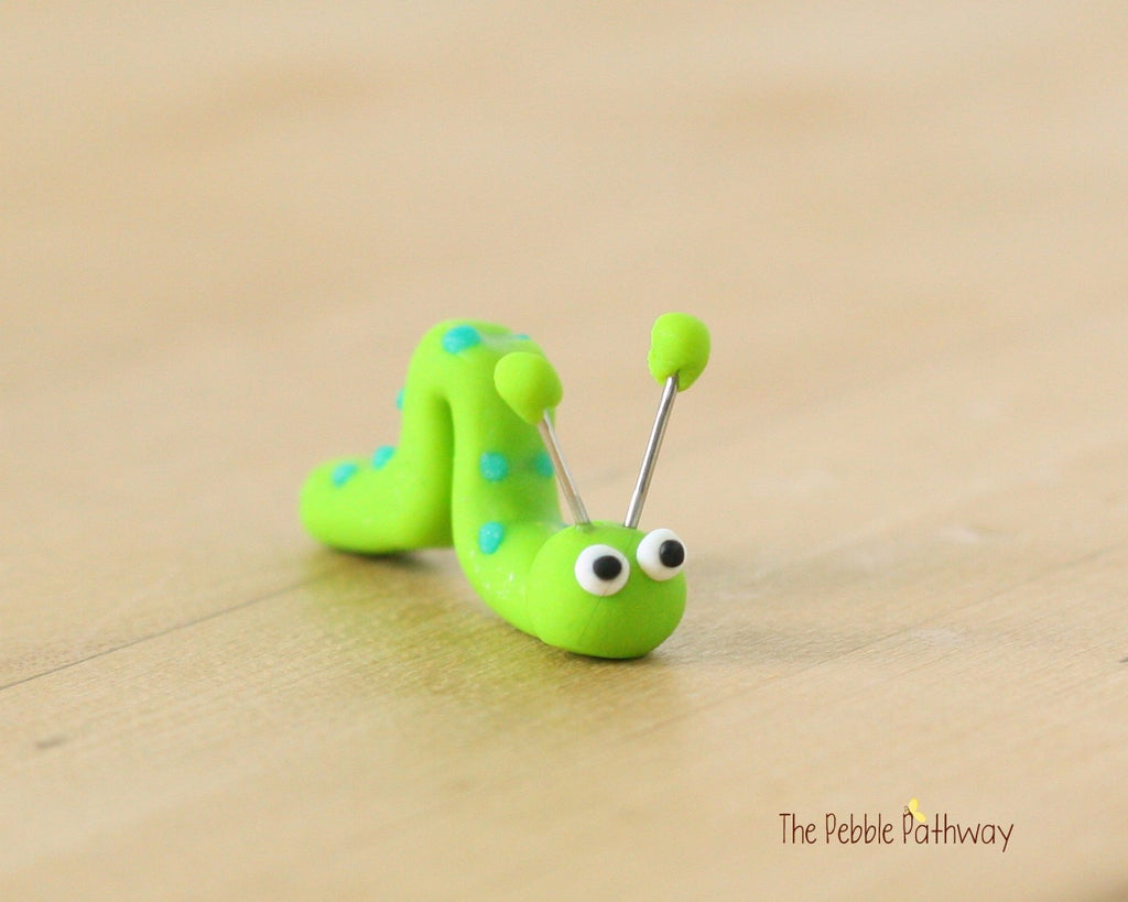 Tiny inch worm  - Woodland Animals - Terrarium Accessory - fairy garden decoration  Cupcake Topper 0494 - ThePebblePathway