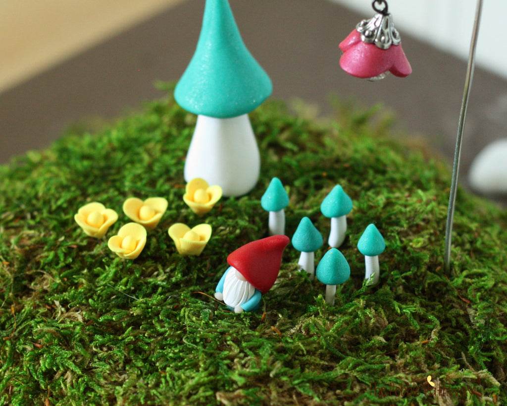 Handmade Terrarium Decorations set - tiny gnome, large mushroom, tiny mushrooms, tiny flowers, shepherd hook, and flower charm - 16 pieces 0499