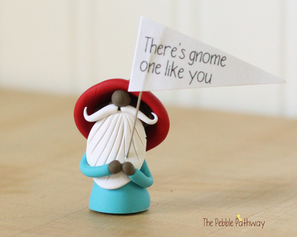 Greeting Gnome - Brown Skin - There's Gnome One Like You - Miniature Polymer Clay Gnome - Garden Gnome Good Luck Shelf Sitter Plant Poke 0359 - ThePebblePathway