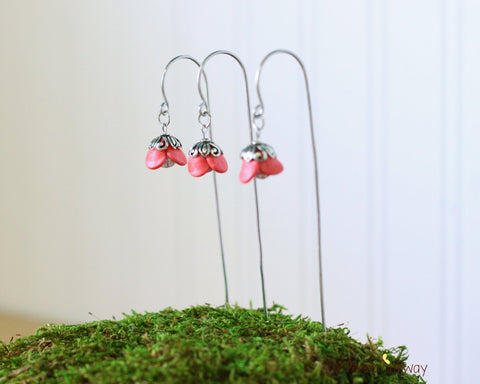 Set of Fairy garden peach colored flower lanterns for miniature gardens with shepherds hooks in aluminum or copper handmade 0513 - ThePebblePathway