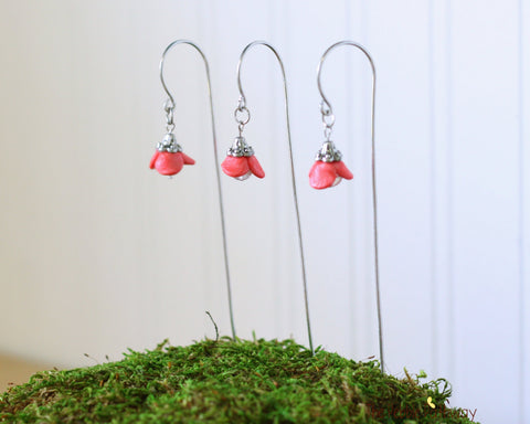 Set of Fairy garden peach colored flower lanterns for miniature gardens with shepherds hooks in aluminum or copper handmade 0514 - ThePebblePathway