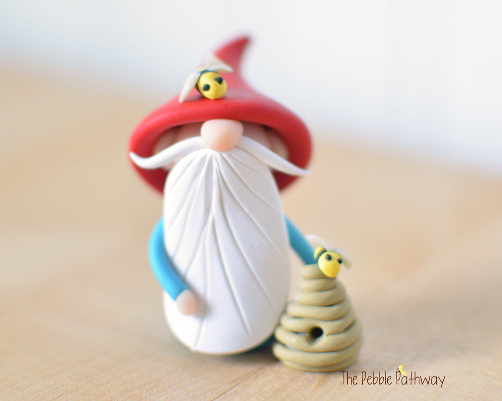 Bee Keeper Gnome - apiarist gnome - apiary ornament - Gnome with Bee Hive 0527 - ThePebblePathway