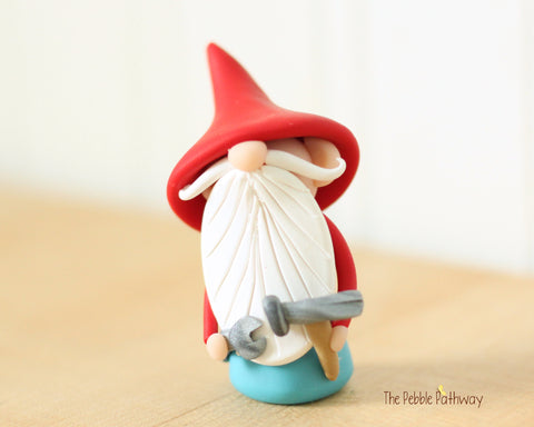 Handyman Gnome - Career Gnomes and Fairies - Working Gnome Plumber Mechanic 0536 - ThePebblePathway