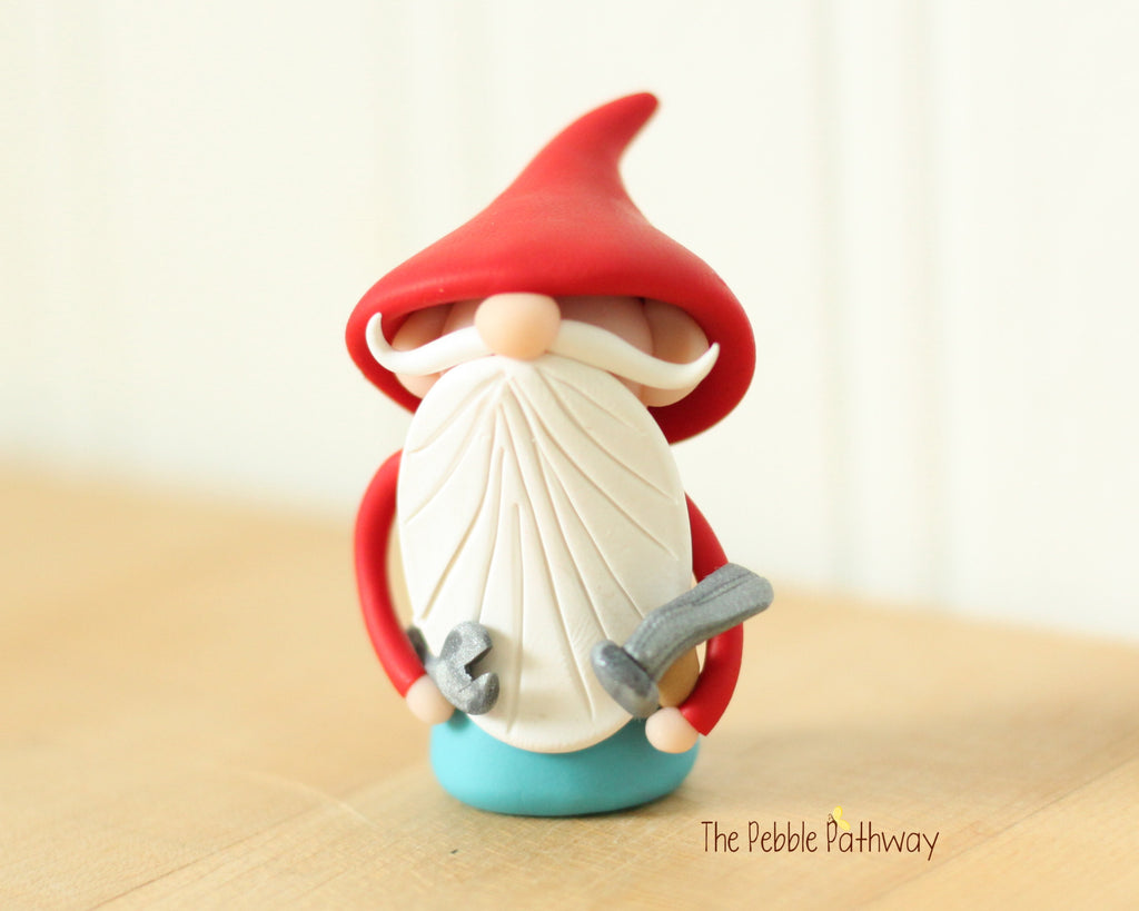Handyman Gnome - Career Gnomes and Fairies - Working Gnome Plumber Mechanic 0537 - ThePebblePathway
