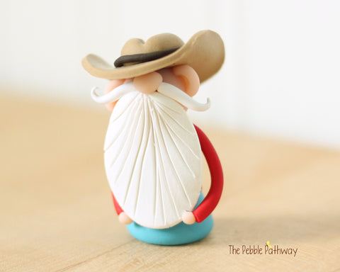 Cowboy or Farmer Gnome - Career Gnomes and Fairies - Working Gnome 0540 - ThePebblePathway