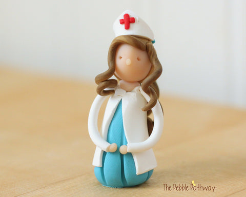 Daisy the Light Brown Hair Nurse Fairy - Career Gnomes and Fairies - ThePebblePathway
