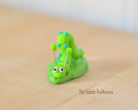 Tiny inch worm  - Woodland Animals - Terrarium Accessory - fairy garden decoration  Cupcake Topper 0525 - ThePebblePathway