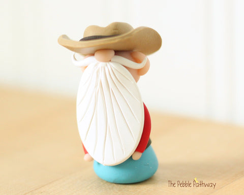 Cowboy or Farmer Gnome - Career Gnomes and Fairies - Working Gnome 0539 - ThePebblePathway