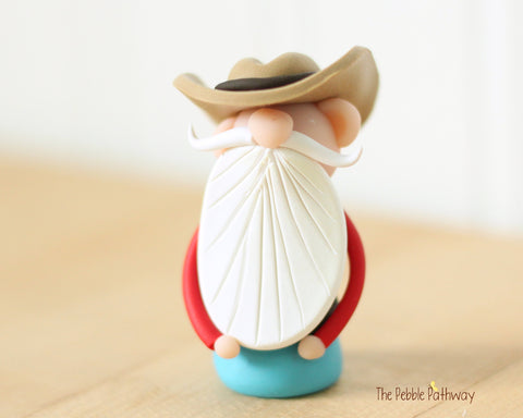 Cowboy or Farmer Gnome - Career Gnomes and Fairies - Working Gnome 0541 - ThePebblePathway