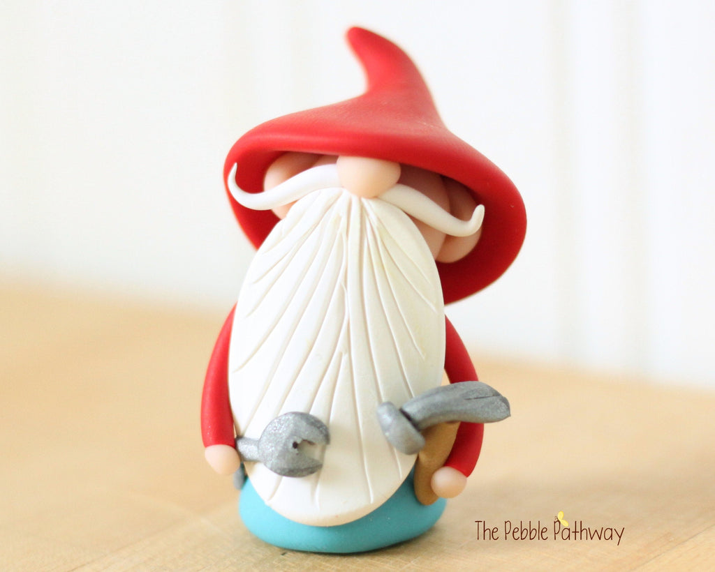 Handyman Gnome - Career Gnomes and Fairies - Working Gnome Plumber Mechanic 0535 - ThePebblePathway