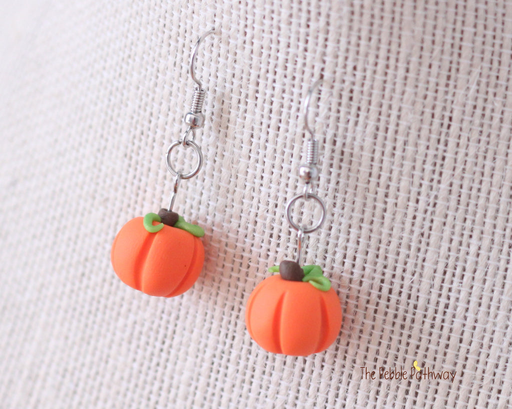 Halloween Orange Pumpkin Earrings, Polymer Clay 0626 - ThePebblePathway