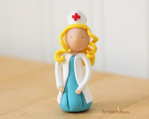 Rose the Blonde Hair Nurse Fairy - Career Gnomes and Fairies - ThePebblePathway