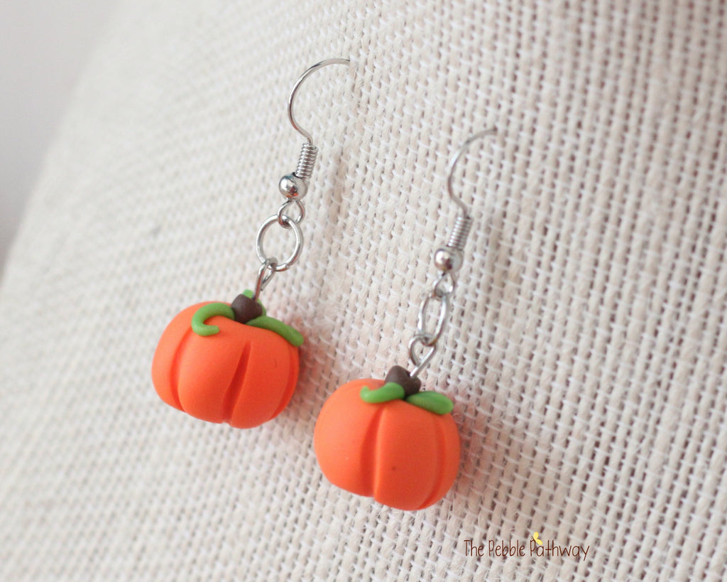 Halloween Orange Pumpkin Earrings, Polymer Clay 0627 - ThePebblePathway