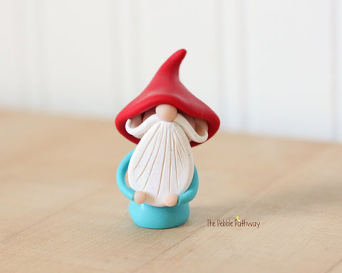 Miniature Polymer Clay Gnome Ornament - Garden Gnome Good Luck Charm 0620