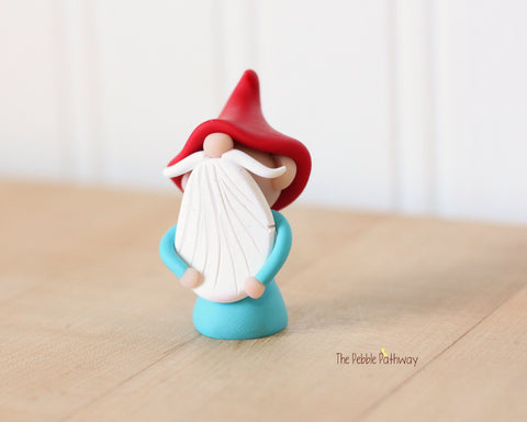 Miniature Polymer Clay Gnome Ornament - Garden Gnome Good Luck Charm 0619