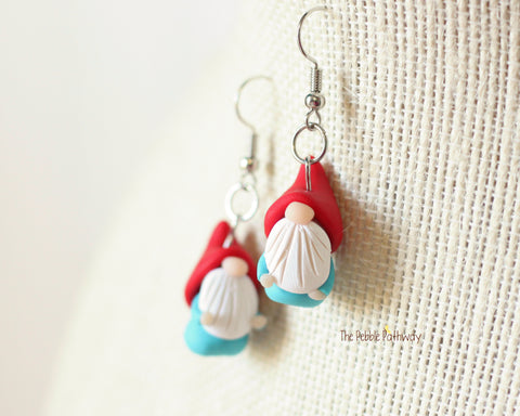 Tiny Gnome Earrings - Cute polymer clay jewelry - gift 0625 - ThePebblePathway