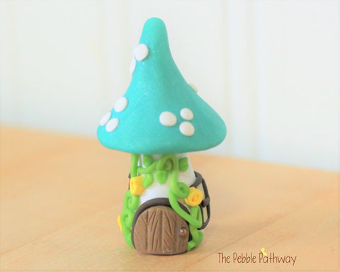Tiny Mushroom Gnome Home, Teal Mushroom Fairy House, Terrarium Decoration,  Fairy Garden Accessory 0630