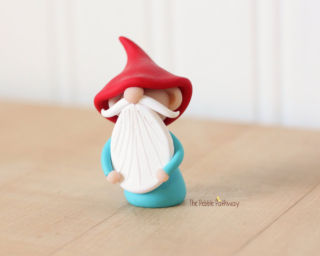 Miniature Polymer Clay Gnome Ornament - Garden Gnome Good Luck Charm 0621 - ThePebblePathway