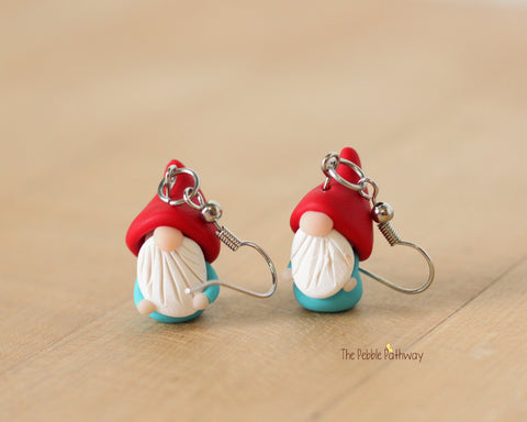 Tiny Gnome Earrings 0623 - ThePebblePathway