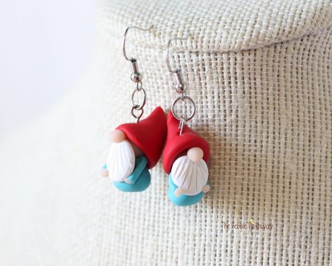 Tiny Gnome Earrings 0624 - ThePebblePathway