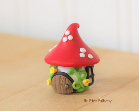 Tiny Gnome Home,  Mushroom Fairy House, Terrarium Decoration,  Fairy Garden Accessory 0628 - ThePebblePathway