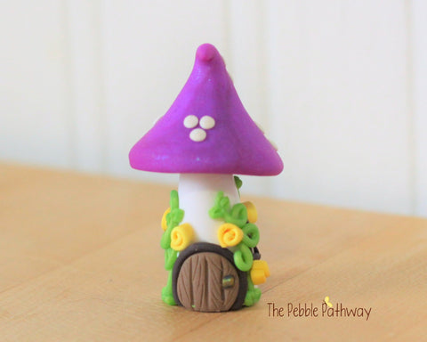 Tiny Mushroom Gnome Home,  Purple Mushroom Fairy House, Terrarium Decoration,  Fairy Garden Accessory 0629 - ThePebblePathway