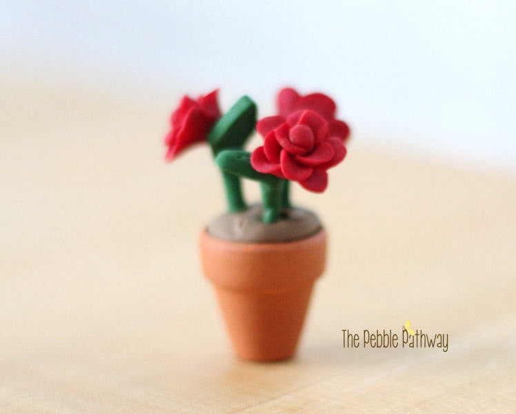 Fairy Garden Decorations - Miniature Red Roses in Flower Pot - Terrarium Accessories - ThePebblePathway