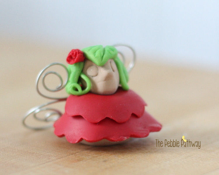 Fairy Garden Accessories - Miniature Red Fairy - polymer clay - ThePebblePathway