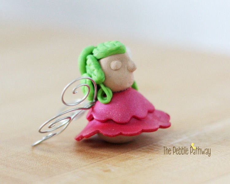 Fairy Garden Accessories - Miniature Pink Fairy - polymer clay - ThePebblePathway