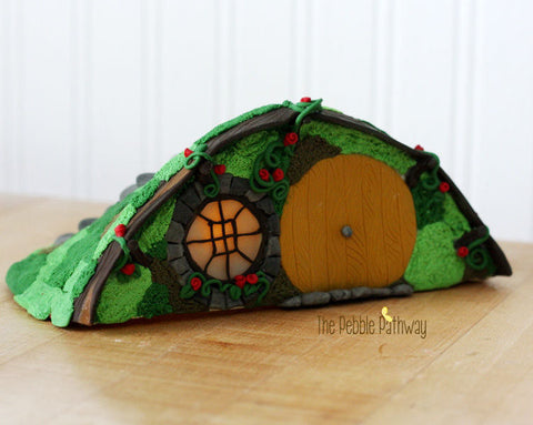 Handmade Hole in a Hill Halfling house, Fairy house or gnome home - ThePebblePathway