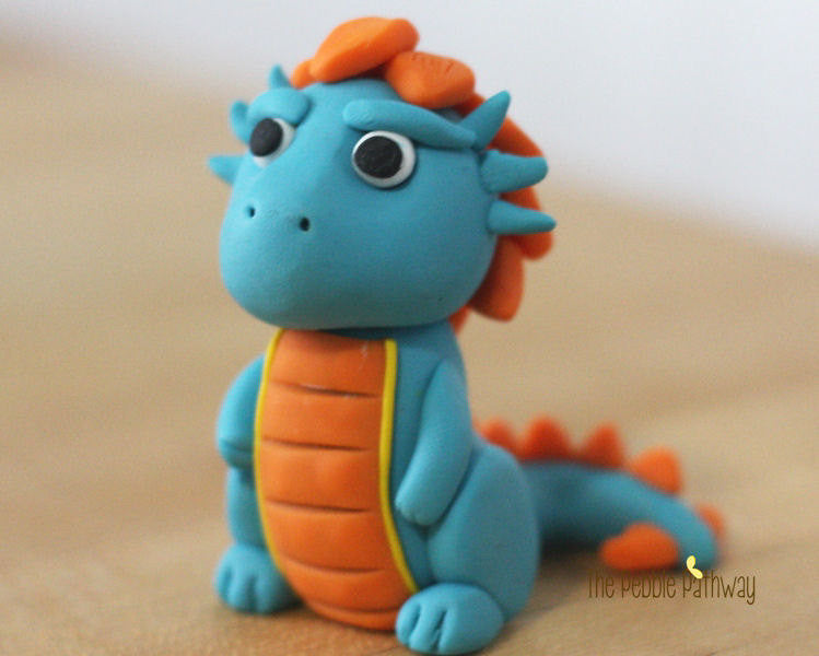 Polymer Clay Dragon or Dinosaur Blue and Orange - ThePebblePathway