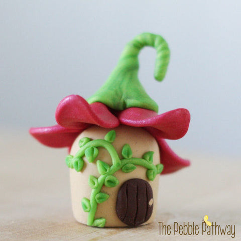 Tiny Fairy House with Pink Flower Roof - ThePebblePathway