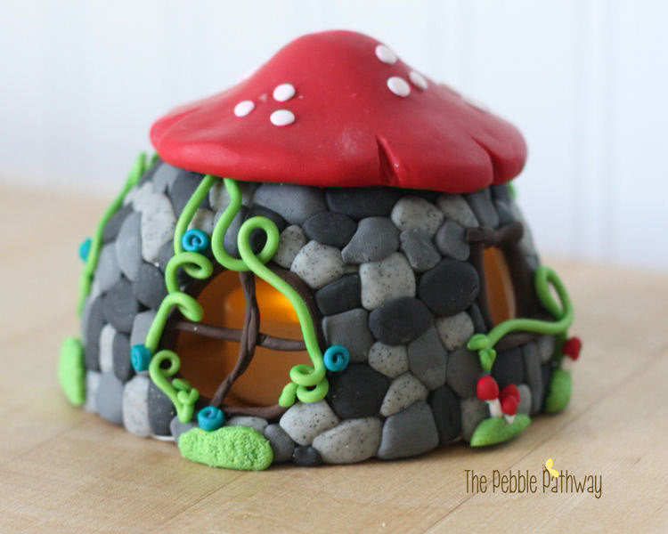 Fairy House - Stone House with Red Mushroom Roof - ThePebblePathway