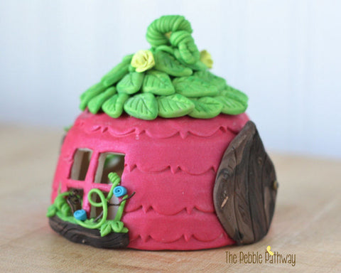 Fairy House - Pink with green leaf roof and yellow flower accents - ThePebblePathway