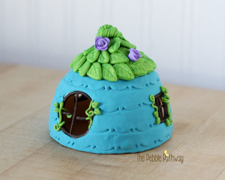 Fairy House - Blue with green leaf roof and purple flower accents - ThePebblePathway
