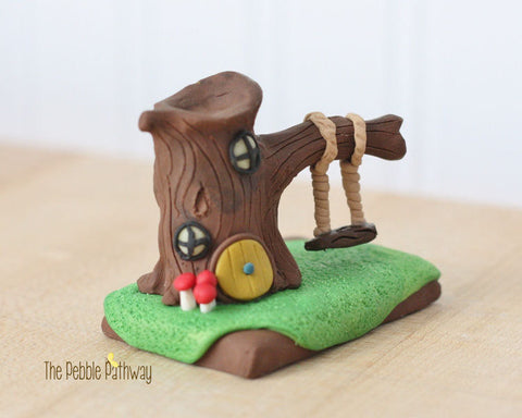 Gnome Home, Fairy House, polymer clay miniature Tree house with swing - ThePebblePathway