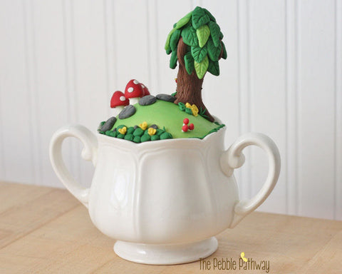 fairy garden in a sugar dish with tree and fun details tea cup fairy garden gnome home minature garden