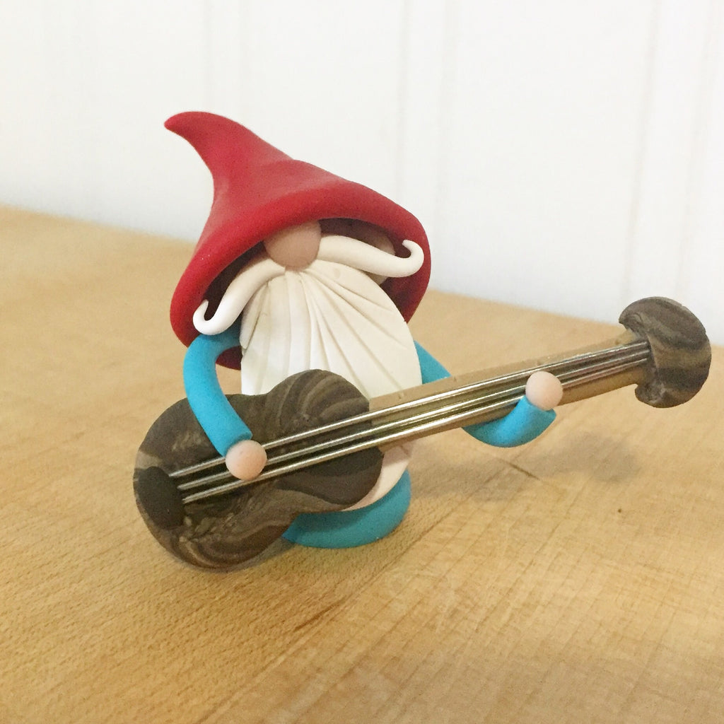 Guitar Player Gnome Bass Player Gnome Christmas Ornament - Career Gnomes and Fairies 0003
