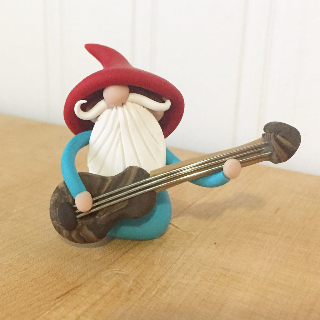 Guitar Player Gnome Bass Player Gnome Christmas Ornament - Career Gnomes and Fairies 0002 - ThePebblePathway