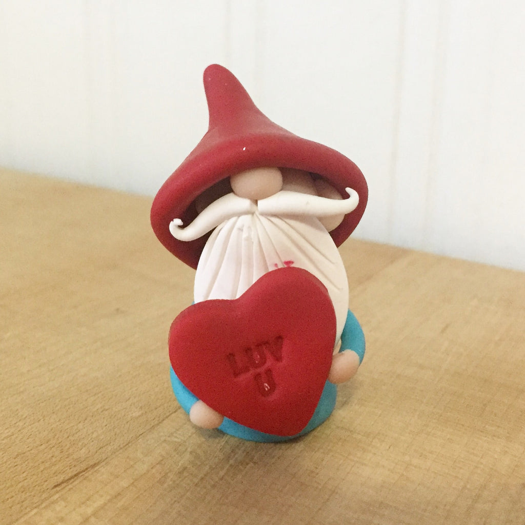 February Gnome of the Month - Valentine Gnome holding Luv U Heart - Love You Gnome - 0346 - ThePebblePathway