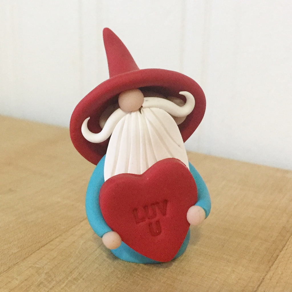 February Gnome of the Month - Valentine Gnome holding Luv U Heart - Love You Gnome - 0345 - ThePebblePathway