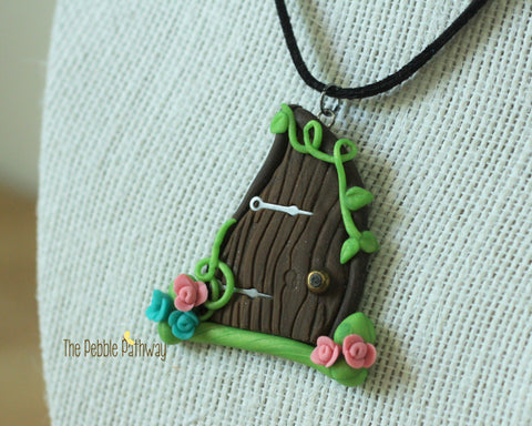 Large Fairy Door necklace with blue and pink flowers