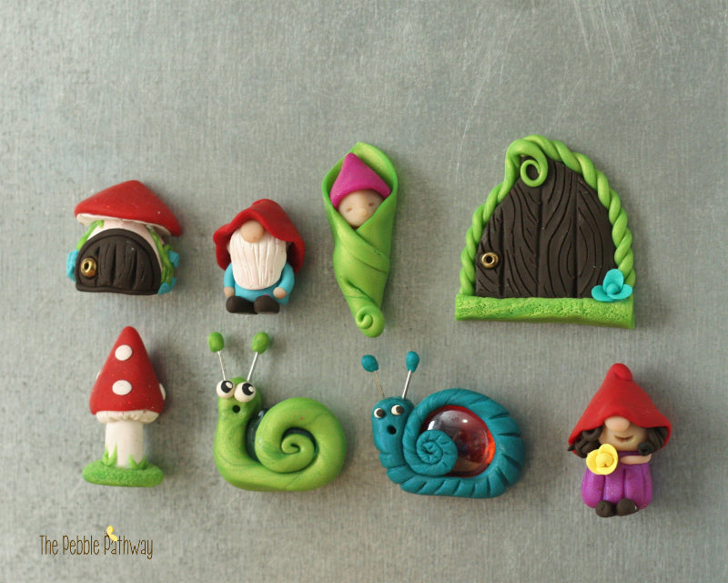 Set of 3 Magnets - You choose baby fairy, gnome, mushroom, fairy door etc - ThePebblePathway