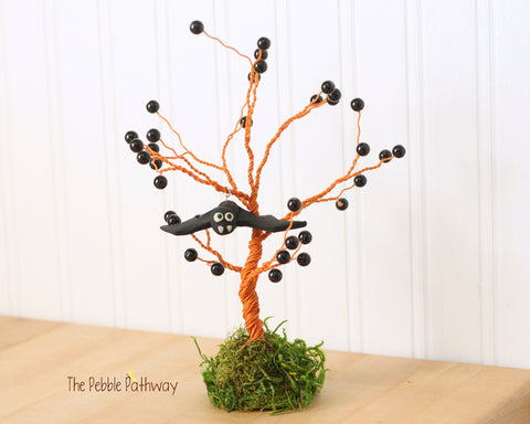 Halloween Orange and Black Wire tree sculpture with Bat - ThePebblePathway